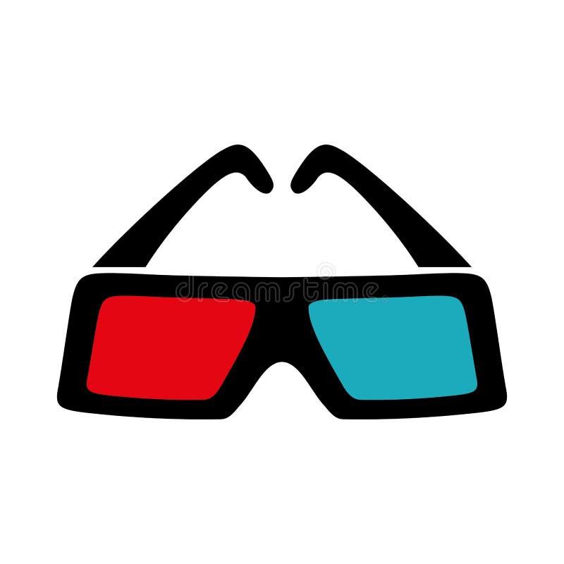 icono de los vidrios 3D Diseño de la película Gráfico de vector ilustración del vector