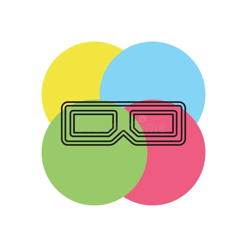 icono de los vidrios 3d - ejemplo del cine de la película del vector ilustración del vector