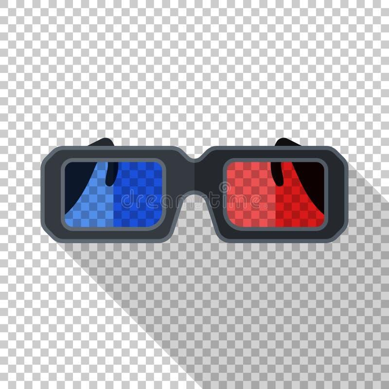 Icono de los vidrios del anáglifo 3D en estilo plano en fondo transparente libre illustration