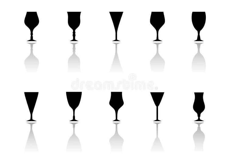 Icono de los vidrios fijado con la silueta de la reflexión stock de ilustración