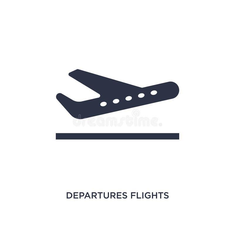 icono de los vuelos de las salidas en el fondo blanco Ejemplo simple del elemento del concepto del terminal de aeropuerto stock de ilustración