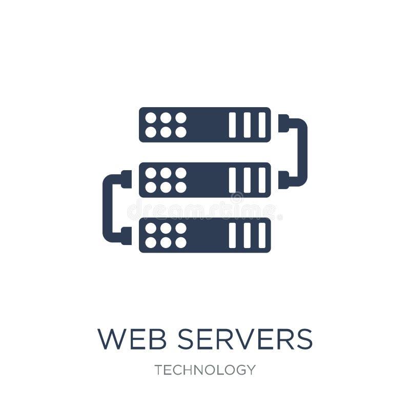 Icono de los web server Icono plano de moda de los web server del vector en b blanco stock de ilustración
