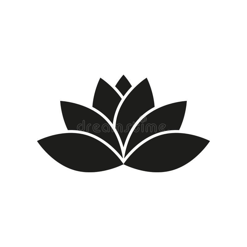 Icono de Lotus Lirio y flor, símbolo de la forma de vida Dise?o plano Acci?n - ejemplo del vector foto de archivo