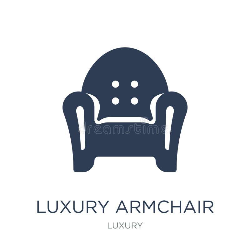 icono de lujo de la butaca Icono de lujo de la butaca del vector plano de moda encendido stock de ilustración