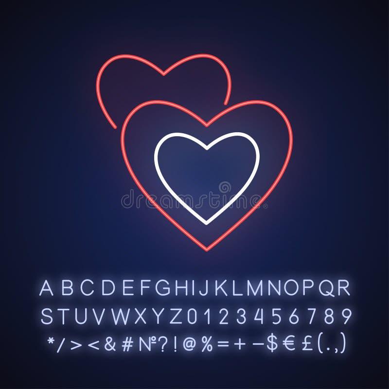 Icono de luz de neón de Romance libre illustration