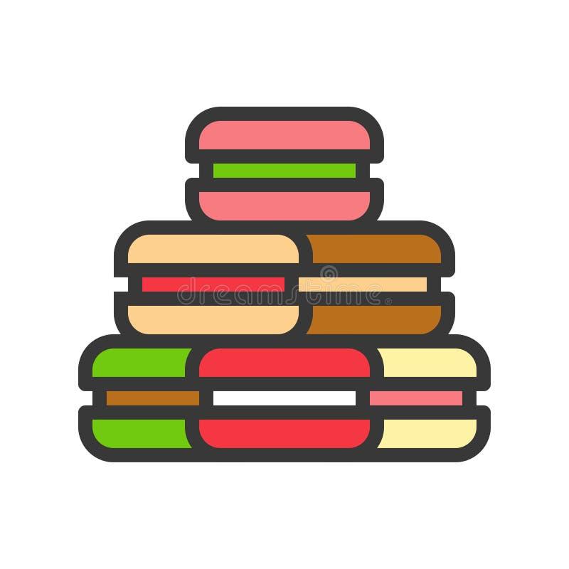 Icono de Macarons, sistema de los dulces de la Navidad Línea Editable libre illustration