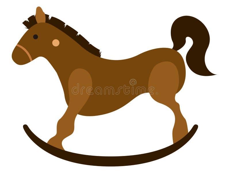 Icono de madera aislado del juguete del caballo ilustración del vector