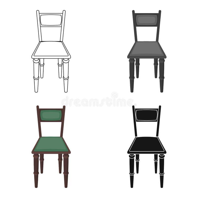 Icono de madera de la silla en estilo de la historieta aislado en el fondo blanco Ejemplo del vector de la acción del símbolo de  ilustración del vector
