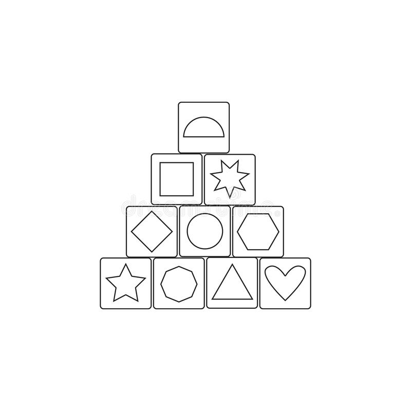 Icono de madera del juego del edificio del bloque Icono del elemento del juguete Icono superior del diseño gráfico de la calidad  ilustración del vector