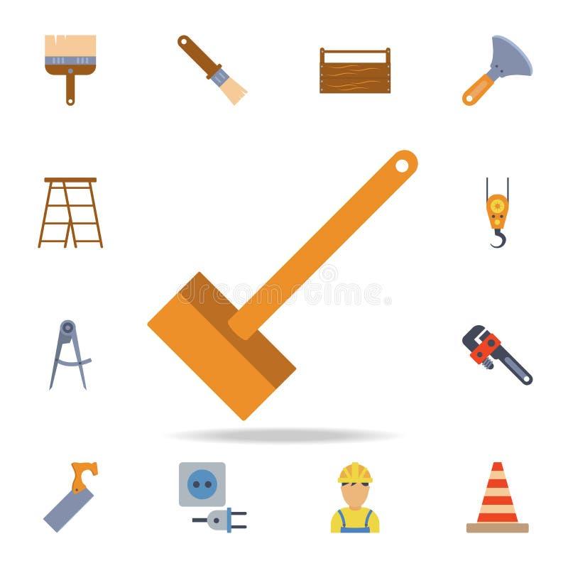 icono de madera del martillo del color Sistema detallado de herramientas de la construcción del color Diseño gráfico superior Uno stock de ilustración