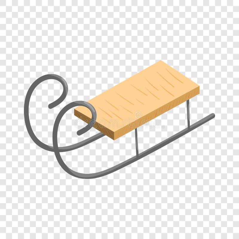 Icono de madera del trineo, estilo de la historieta ilustración del vector
