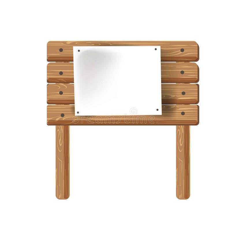 Icono de madera del vector de la muestra de la señalización o de publicidad ilustración del vector