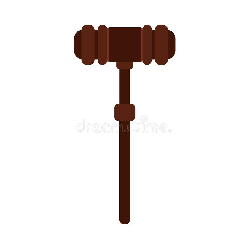 Icono de madera del vector de la ley del sistema de la decisión del mazo del juez Elemento culpable de la jurisprudencia de la re libre illustration
