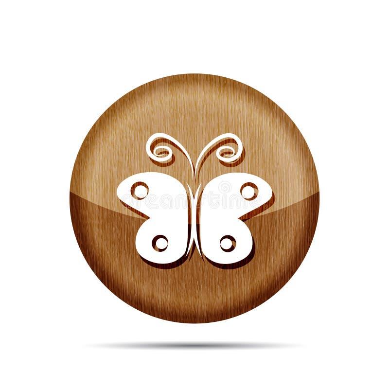 Icono de madera del vector de la mariposa libre illustration