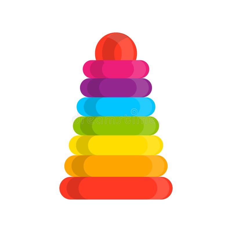 Icono de madera del vector de la pirámide del arco iris del juguete del apilador del anillo Ejemplo constructivo montado bebé vis libre illustration