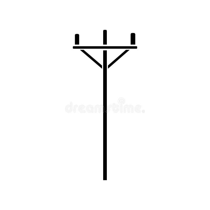 Icono de madera de la línea eléctrica del Glyph Diseño simple del vector de la línea eléctrica stock de ilustración