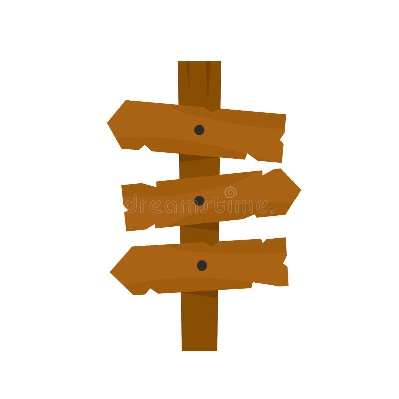 Icono de madera de la muestra de la flecha de la dirección, estilo plano del diseño del illustion del vector ilustración del vector
