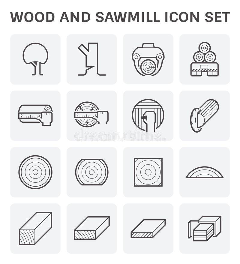 Icono de madera de la serrer?a stock de ilustración