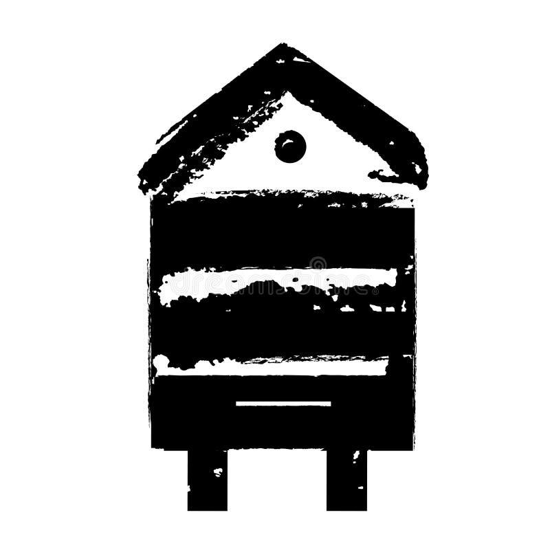 Icono de madera retro de la colmena de la abeja Sello del vector para el empaquetado, la apicultura y la apicultura de la miel Gr libre illustration