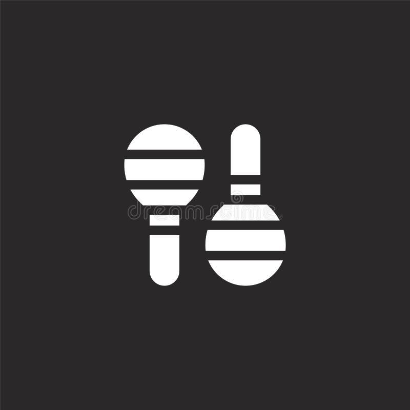 Icono de Maracas Icono llenado de los maracas para el diseño y el móvil, desarrollo de la página web del app icono de los maracas stock de ilustración