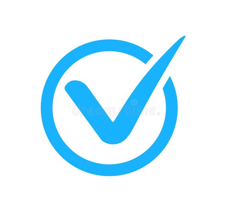 Icono de marca de verificación correcta. Marca azul en círculo para el botón Aceptar, casilla de verificación estilo plano ais ilustración del vector