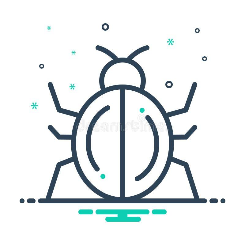 Icono de mezcla negra para Bug, insecto y mariquita ilustración del vector