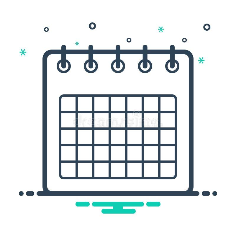 Icono de mezcla negra para Calendario, agenda y mes ilustración del vector