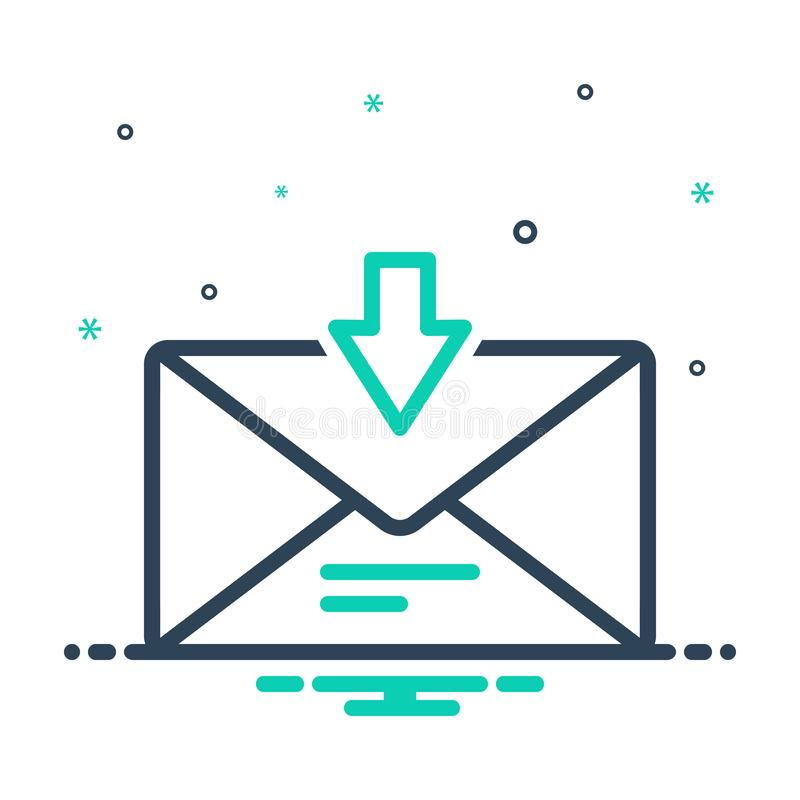 icono de mezcla para mensaje directo, mensaje de bandeja de entrada y notificación ilustración del vector