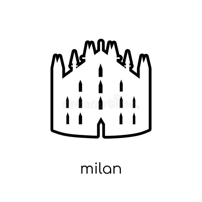 Icono de Milán Icono linear plano moderno de moda de Milán del vector en blanco stock de ilustración