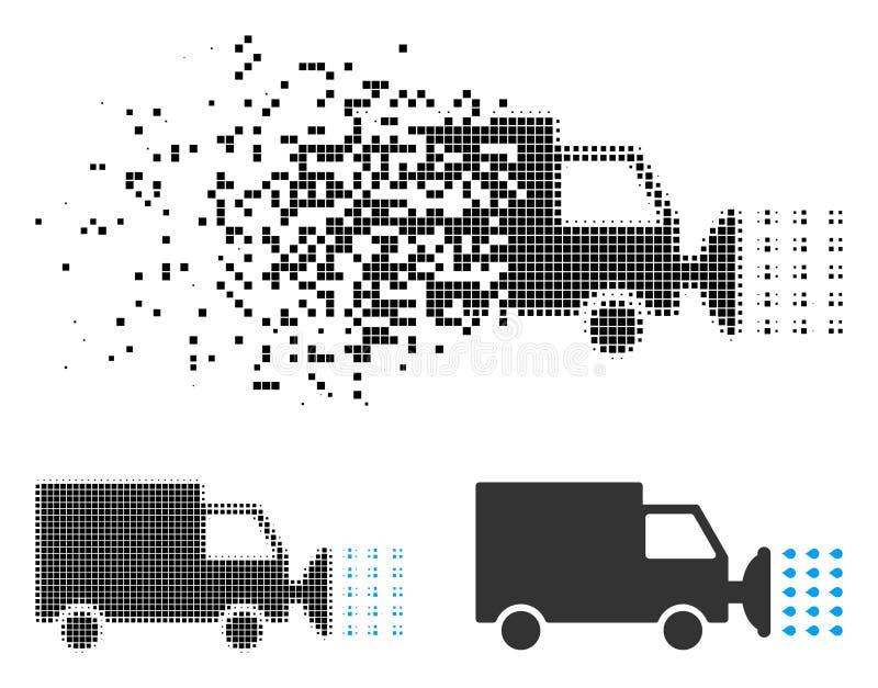 Icono de mudanza del coche de la calle de semitono de Pixelated que se lava stock de ilustración