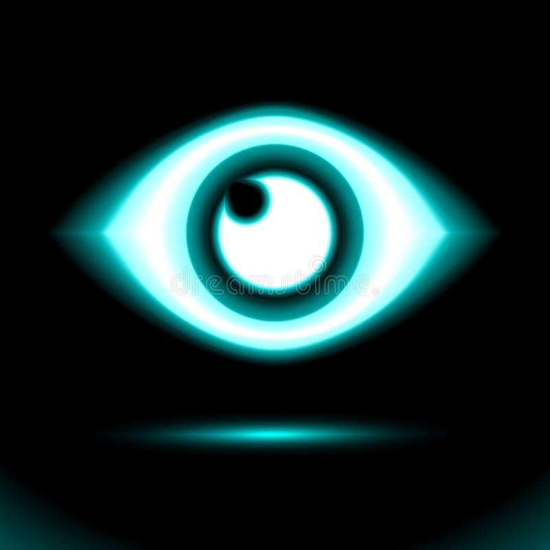 Icono de neón azul del ojo Lámpara, luz del botón de la muestra, símbolo para el diseño en fondo negro Objeto fluorescente Anunci stock de ilustración
