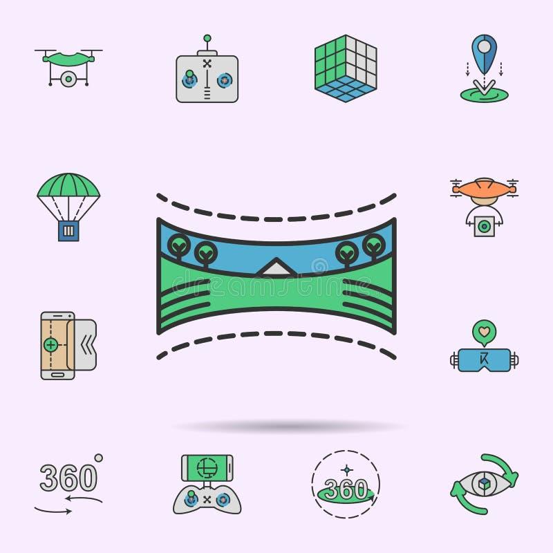icono de neón coloreado paisaje panorámico 360 Elementos del sistema de la realidad virtual Icono simple para las p?ginas web, di stock de ilustración