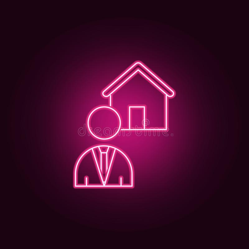 Icono de neón del agente inmobiliario Elementos del sistema de Real Estate Icono simple para las p?ginas web, dise?o web, app m?v stock de ilustración
