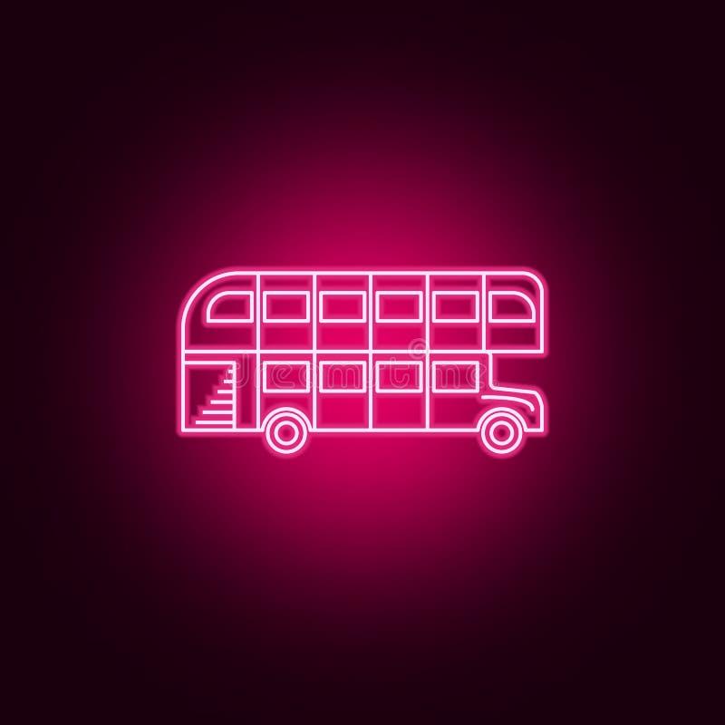 Icono de neón del autobús de dos pisos del autobús de Londres Elementos del sistema del transporte Icono simple para las p?ginas  libre illustration