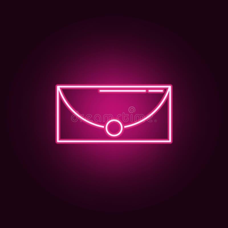 Icono de neón del bolso de embrague Elementos de las mujeres \ 'sistema de los accesorios de s Icono simple para las p?ginas web, ilustración del vector