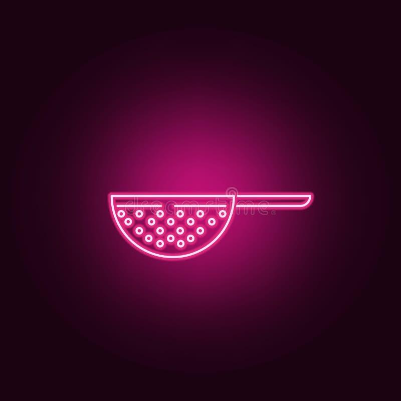 icono de neón del colador Elementos del sistema de la cocina Icono simple para las p?ginas web, dise?o web, app m?vil, gr?ficos d ilustración del vector