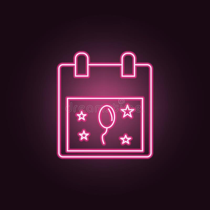 icono de neón del partido del calendario Elementos del sistema del partido Icono simple para las p?ginas web, dise?o web, app m?v libre illustration