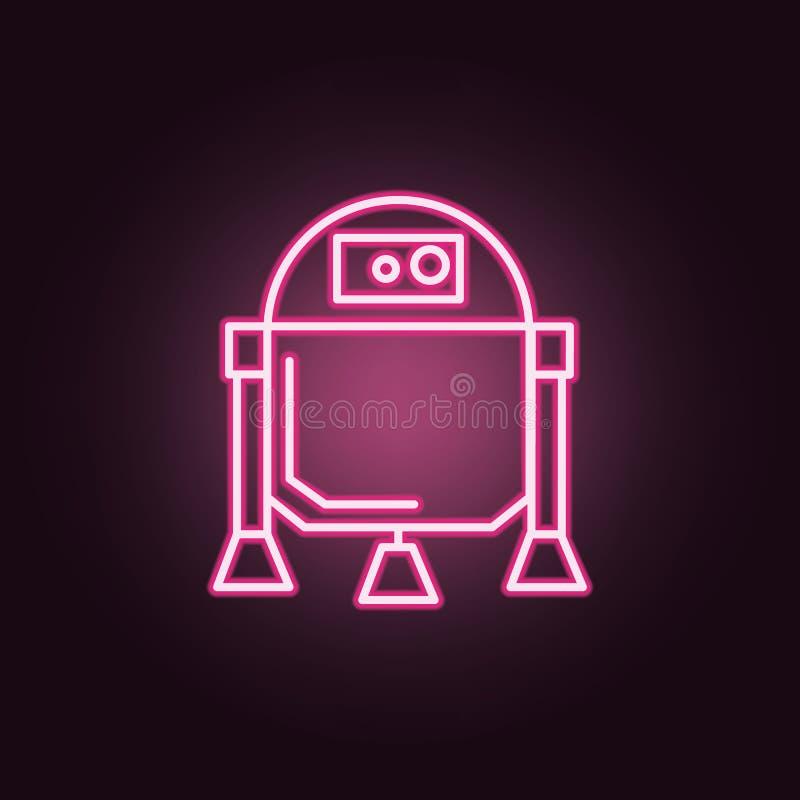 Icono de neón del robot Elementos del sistema del espacio Icono simple para las p?ginas web, dise?o web, app m?vil, gr?ficos de l stock de ilustración
