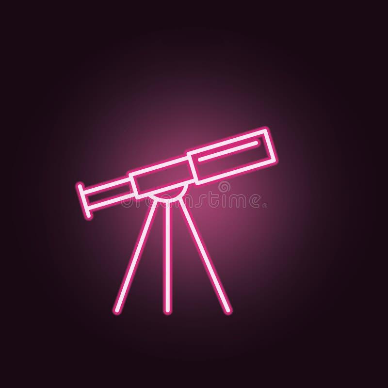 icono de neón del telescopio Elementos del sistema del espacio Icono simple para las p?ginas web, dise?o web, app m?vil, gr?ficos stock de ilustración