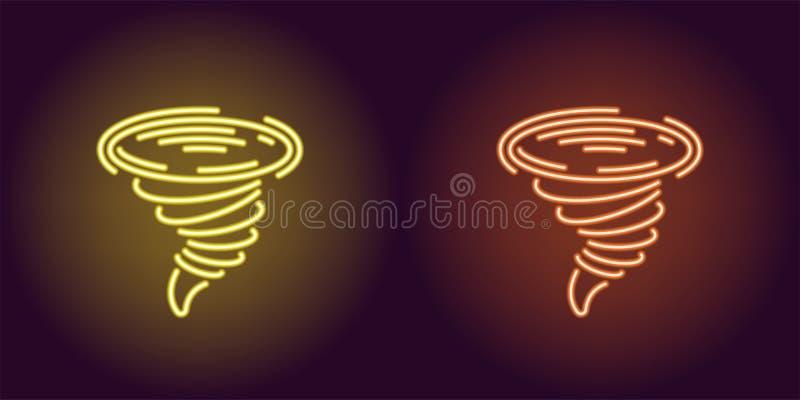 Icono de neón del tornado amarillo y anaranjado stock de ilustración