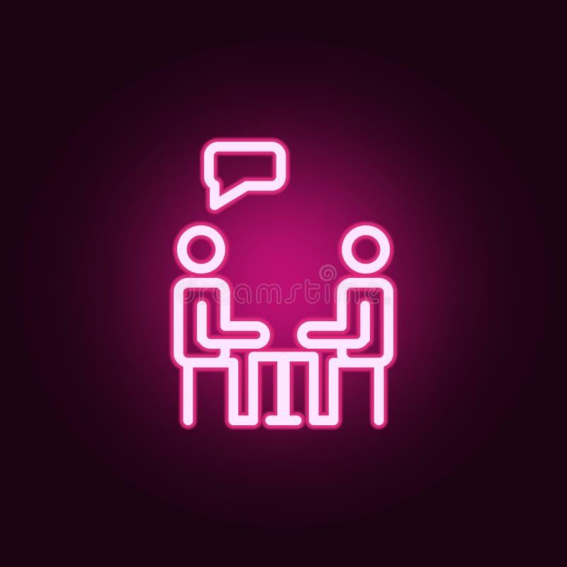 Icono de neón del vector humano del diálogo Elementos del sistema de la educaci?n Icono simple para las p?ginas web, dise?o web,  ilustración del vector