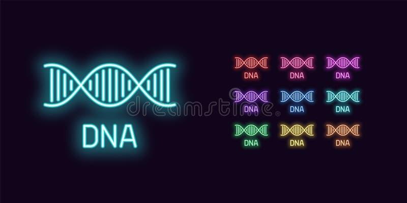 Icono de neón de la DNA, estructura H?lice de la DNA que brilla intensamente stock de ilustración