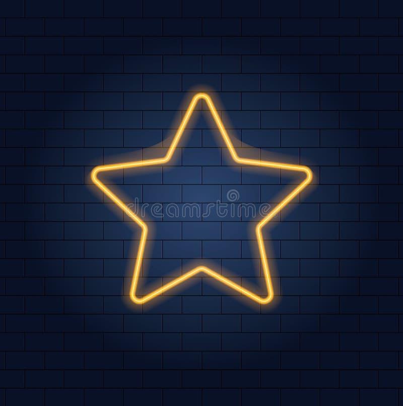 Icono de neón de la estrella, fondo de la pared de ladrillo y forma de la estrella que brilla intensamente ilustración del vector