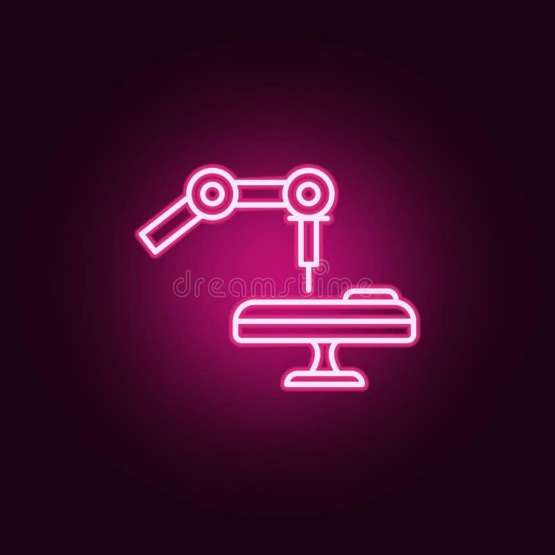 Icono de neón de la operación médica del robot Elementos del sistema de la inteligencia artificial Icono simple para las páginas  stock de ilustración
