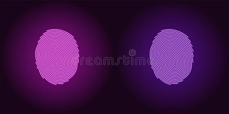 Icono de neón de la púrpura y de Violet Fingerprint stock de ilustración