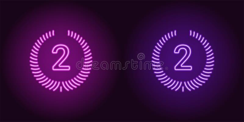 Icono de neón de la púrpura y de Violet Second Place libre illustration