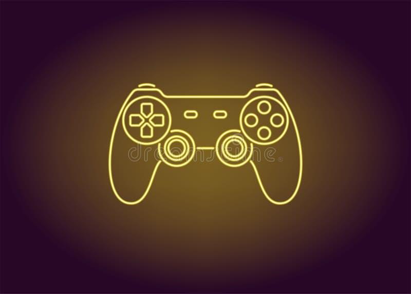 Icono de neón de la palanca de mando amarilla ilustración del vector