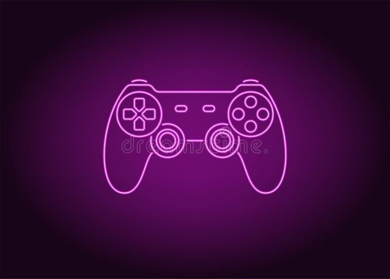 Icono de neón de la palanca de mando púrpura, vector stock de ilustración