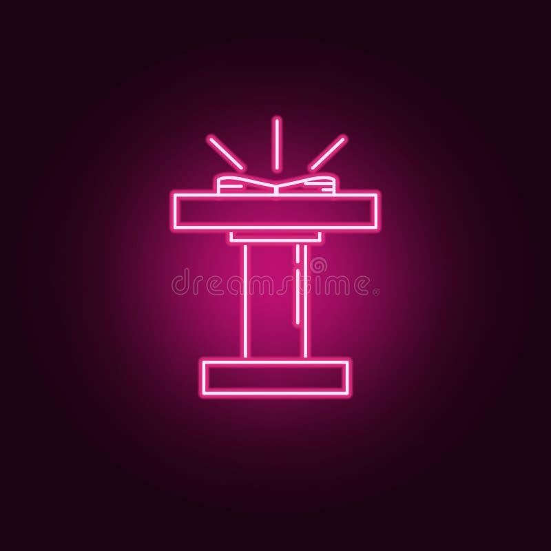 icono de neón de la plataforma de la iglesia Elementos del sistema de la religi?n Icono simple para las p?ginas web, dise?o web,  libre illustration