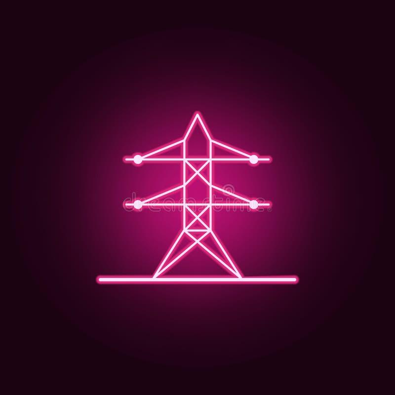 icono de ne?n de la torre de alto voltaje Elementos del sistema de la web Icono simple para las p?ginas web, dise?o web, app m?vi stock de ilustración